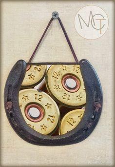Shot Gun Horseshoe Wall Hanging with 12 Gauge Shot Gun Shells Image, Perfectly Aged Patina, Leather Accent, Good Luck Horseshoe, Man Cave by ManCaveTreasures4u on Etsy