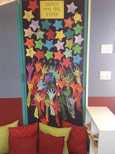 Reach for the stars, goal setting for the year. The students write their goal on a star and then trace and decorate their arm.