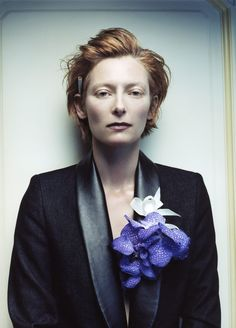 Tilda Swinton-Sophie Delaporte, Photographer Black and soft grey and deep electric purple and copper