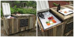 This is one of the coolest DIY projects we've ever seen… Do you have an old fridge that you're looking to get rid of? Turn it into a rustic outdoor cooler for backyard summer parties! Rustic Outdoor Bar, Rustic Outdoor Furniture, Diy Furniture, Outdoor Decor, Outdoor Bars, Kitchen Furniture, Antique Furniture, Outdoor Spaces, Modern Furniture