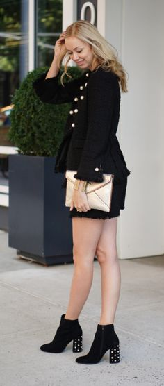 """Gold Envelope Clutch, Black Tweed Jacket and Skirt and Black Studded Booties {click """"VISIT"""" to see the full outfit post and outfit links on WithLoveAndStyle.com} — With Love & Style"""