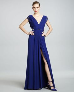 ShopStyle: Elie Saab Lace-Sleeve Gown