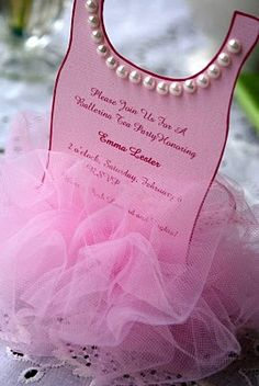 TULLE INVITES - Create little tutus using pink tulle. Gather the upper edge using a darning needle and string or heavy thread. Write or type the party details on a piece of decorative scrapbook paper and tie one to each tutu using white and pink silk ribbons