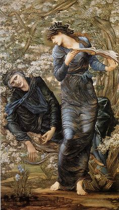 """Edward Burne-Jones, The Beguiling of Merlin (1874). Burne-Jones and William Morris became """"followers"""" of Rossetti and, in doing so, ushered in the second wave of the Pre-Raphaelite Movement. This second wave eventually led to the Symbolist Movement. The stylized work of Burne-Jones points in that direction."""