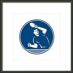 Table Tennis Player Serving Circle Icon Framed Print By Aloysius Patrimonio