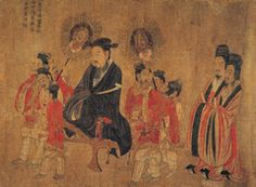 Emperor Xuan and Attendants;  Yan Liben;  Ink and Color on Silk;  Tang Dynasty
