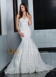 havfrue kjæreste feie tog blonder brudekjole - UUknot.com