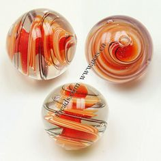 Inner Twist Lampwork Beads, 16mm, Sold By PC