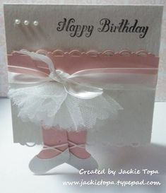 Ballerina card made with stampin up stocking punch