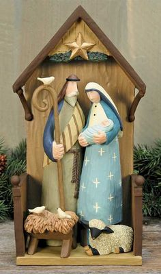 Nativity Figurines, Christmas Folk Art & Holiday Collectibles by Williraye Studio Nativity Creche, Christmas Nativity Scene, Nativity Sets, The Birth Of Christ, O Holy Night, Christian Christmas, Jingle All The Way, Christmas Items, Christian Art