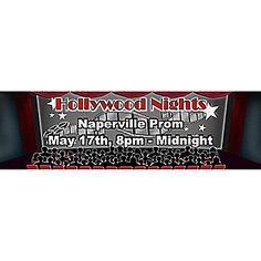 Our colorful and affordable personalized Hollywood Nights banner features your choice of wording.