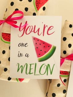You're one in a melon Birthday Gifts For Best Friend, Best Friend Gifts, Employee Appreciation Gifts, Little Presents, One In A Melon, Types Of Lettering, Silhouette Cameo Projects, Christmas Gift Wrapping, Thank You Gifts