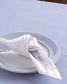 Clever Places for Place Cards: Napkin Knot | Martha Stewart Weddings