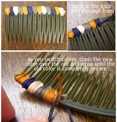 The last DIY hair comb  was such a hit that I had tons of requests for a step-by-step tutorial. I hope this helps! You wrap your floss betw...
