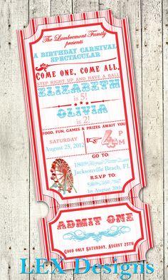 Vintage Carnival Invitations. $22.50, via Etsy.