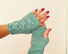 Persian green Wool Fingerless Gloves Armwarmers Hand Knit Chic Winter Accessories Winter Fashion, halloween, christmas