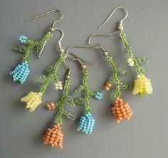 Spring flower, Beaded earrings, light, yellow, pink, blue, green, beadwoven exclusive handmade earrings, 2015, gift for women, blossom