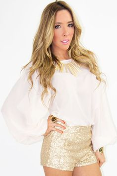 Love this for the next party! gold sequin shorts