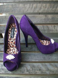 Purple Platform Suede Wedding Shoes Rhinestone Wedding by Parisxox, $68.00