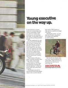 Honda Motorcycle 1975 Ad via Excelsior Motorcycle, Motorcycle Images, Suzuki Motorcycle, Buell Motorcycles, Kawasaki Motorcycles, Honda Passport, Sore Feet, Motosport, New Honda
