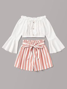 Button Front Flounce Sleeve Top With Striped Belted Shorts Cute Lazy Outfits, Kids Outfits Girls, Teenager Outfits, Stylish Outfits, Cool Outfits, Crop Top And Shorts, Crop Top Outfits, Belted Shorts, Boho Shorts