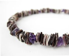 Men's #amethyst and violet oyster #shell #necklace.(Guys like purple, too!!)
