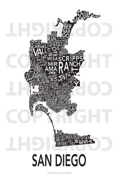 San Diego Map wall art. The inverted version would make a great house warming gift. Wink, wink, nudge, nudge.