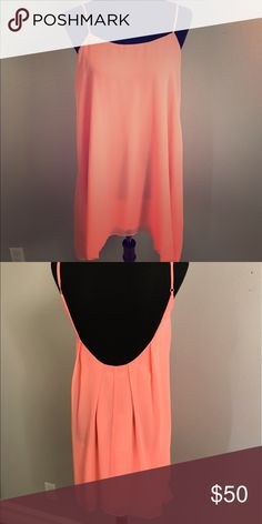 BCBGeneration Flowy Low-Back Dress Beautiful peachy pink low back dress. Chiffon material. Perfect for day to night wear this Summer! BCBGeneration Dresses Mini