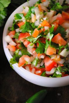 Pico de Gallo Ingredients 4 medium tomatoes, diced 1 small onion, diced 1/4 cup cilantro, chopped 2 jalapenos, diced (remove seeds for less heat) 1 lime, juiced Salt and fresh pepper to taste Instructions Combine all the ingredients, season with salt and pepper to taste. Place in fridge until ready to serve.