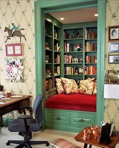 Convert the closet in a spare room into a reading nook! Almost as awesome as a study with floor to ceiling bookshelves.
