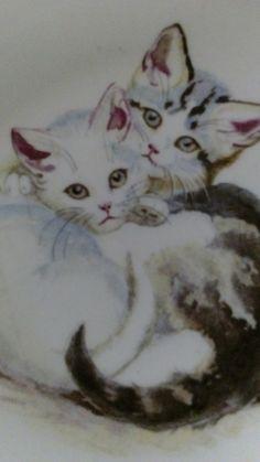 Gammel grøtskål med katter, fra Figgjo