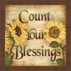 Count Your Blessings Sunflower Wall Art Wooden Decor Bathroom Kitchen Wooden Decor, Wooden Signs, Decoupage, Tole Painting, Primitive Painting, Mellow Yellow, Tricks, Wood Crafts, Fall Decor