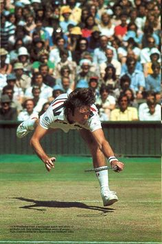 Jimmy Connors desperately reaching for a volley during the 1978 Wimbledon Final against Bjorn Borg. Despite the American's best efforts, he couldn't stop the mercurial Swede taking out the third of his five straight titles 6-2 6-2 6-3.