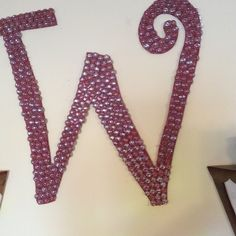 Letter I made by painting background burgundy and gluing on flat clear stones from dollar store.