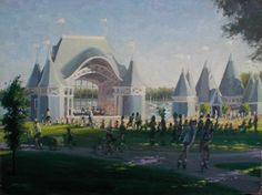 Lake Harriet by Brian Stewart: The Bandshell and Concession stands at Lake Harriet were designed and built about 20 years ago. They have a real nice festive, carnival like quality about them and in the summer months come alive with almost nightly concerts.