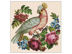 Ponto Cruz em PDF - Papagaio e Rosas | Thimage - Ponto Cruz em PDF | Elo7