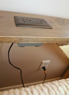 Turtles and Tails: DIY Sofa Table. electric outlet installed on sofa table, great idea for lamps.
