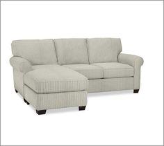 Buchanan Chaise Sofa Sectional, Twill Metal Gray