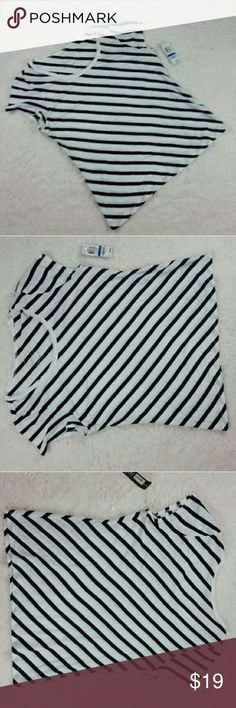 """nautical tee Cute nautical inspired take me sailing tee! Navy and white stripes with a tiny bit of sparkle.  Great to layer or wear solo. This was purchased as wholesale and has 2 tiny spots, see pics. I don't want to remove tags to wash - should come out when washed. Length is 23.5"""", Bust is 20"""". 61% rayon,  36% Cotton, 3% other INC International Concepts Tops Tees - Short Sleeve"""