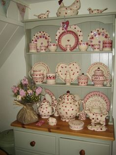 Emma Bridgewater . Pink Display. I like the simplicity of this. I don't want pink hearts for me, maybe blue berries and leaves or blue and white dots.