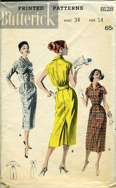 Butterick 8128 Fabulous 50s Wiggle Dress by madelainelyonscooper, $8.00