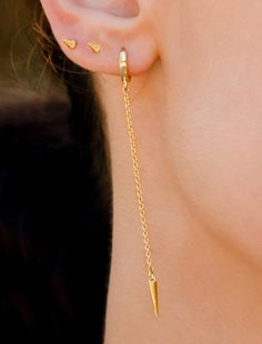 Spike Dangle Earring, Silver Spike Earrings, Bar Drop Spike, Long Gold Dangle Earrings, Silver Spike Earrings, Minimal Chain Earrings by AnyaCollection on Etsy Tiny Earrings, Chain Earrings, Dangle Earrings, Letter Necklace Silver, Personalized Gold Necklace, Dainty Gold Jewelry, Evil Eye Bracelet, Jewelry Gifts, Drop Earrings