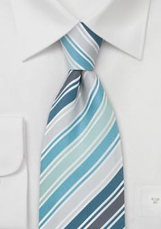 A contemporary designed striped tie that is made of silk and has diagonal stripes throughout.