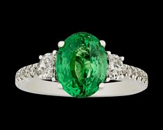 Tsavorite Garnet Ring, 3.56 Carats~ Prized for its rarity, luminosity and durability, the tsavorite garnet is truly a show stopper of a gemstone. Weighing 3.56 carats, this example exhibits a beautiful vivid green hue. Its wonderful green coloration, combined with the stone's high refractive index, results in a stone that radiates with a fire and brilliance that rivals its more famous emerald counterpart. ~M.S. Rau Rare Gemstones, Alexandrite, Garnet Rings, Rarity, Peridot, Hue, Emerald, Most Beautiful, White Gold