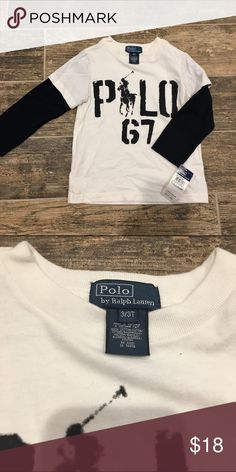 NWT Polo by Ralph Lauren White/Black Long Sleeve NWT Polo by Ralph Lauren graphic long sleeve 3/3T. White Tee Black Sleeves Polo by Ralph Lauren Shirts & Tops Tees - Long Sleeve