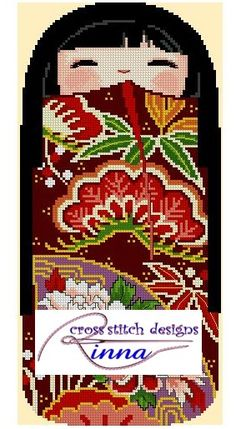 Kokeshi Girl Doll - MINORI   Cross Stitch Pattern/ Design