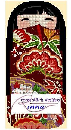 Kokeshi Girl Doll - MINORI   Cross Stitch Pattern/ Design