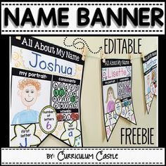 """Add a very personal touch to your classroom with our student names banner. There are two versions in this file: English """"All About My Name"""" and Spanish """"Todo Sobre Mi Nombre""""."""