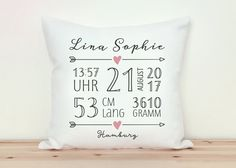 Items similar to baby pillow with dates, gift for birth (gift idea) on etsy - Baby pillow with data gift for birth gift idea Baby Shower Cricut, Baby Shower Games, Baby Bedroom, Baby Room Decor, Baby Showers Juegos, Game Room Kids, Baby Sunglasses, Birth Gift, Baby Room Design