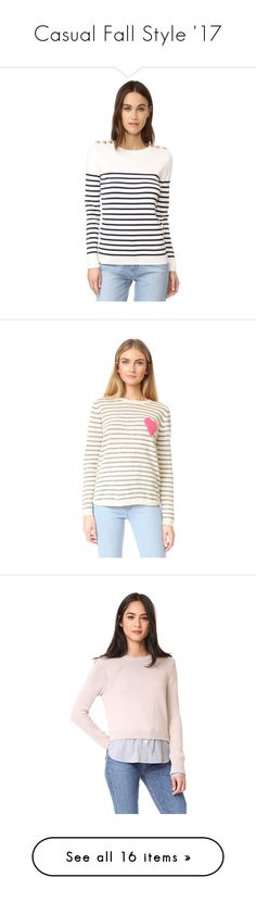 """Casual Fall Style '17"" by baileyjosephberg ❤ liked on Polyvore featuring tops, sweaters, long sleeve pullover sweater, crewneck pullover sweater, white pullover sweater, button sweater, white long sleeve sweater, white sweaters, stripe cashmere sweater and crewneck sweater"